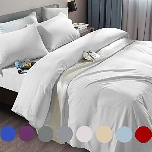 SONORO KATE Bed Sheet Set Super Soft Microfiber 1800 Thread Count Luxury Egyptian Sheets Fit 18 - 24 Inch Deep Pocket Mattress Wrinkle-6 Piece (White, Queen)