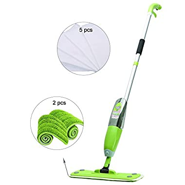 Microfiber Hardwood Floor Spray Mop 360 Degree Professional Spray Mop With 2 Reusable Microfiber Pads, 5 Nonwovens