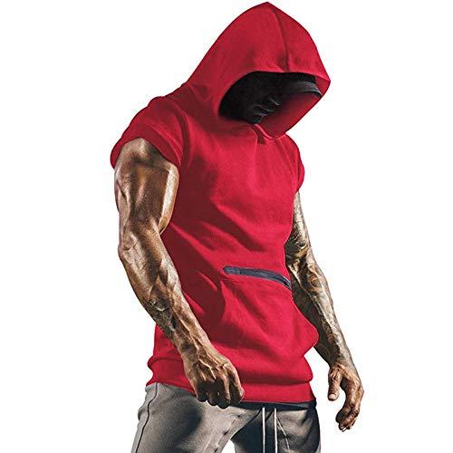 Dazzerake Chaleco deportivo de verano para hombre, camiseta con capucha de color liso, camiseta de manga corta con cremallera y bolsillo para jóvenes rojo M