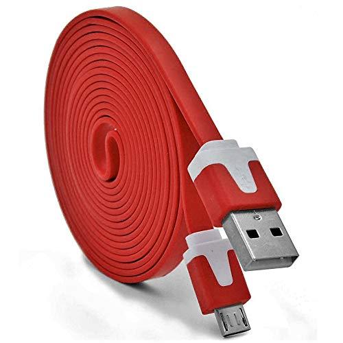 Cable Noodle 3M Micro USB para ZTE Blade L3 Android 3 Metros Cargador USB Smartphone Conector (Rojo): Amazon.es: Electrónica