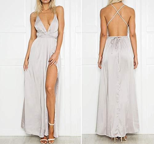 WDJYNL jurk met spaghettibandjes op de rug vrij jurk vrouwen split avondparty kleding deep V-hals satijn maxi-jurk lange zomer