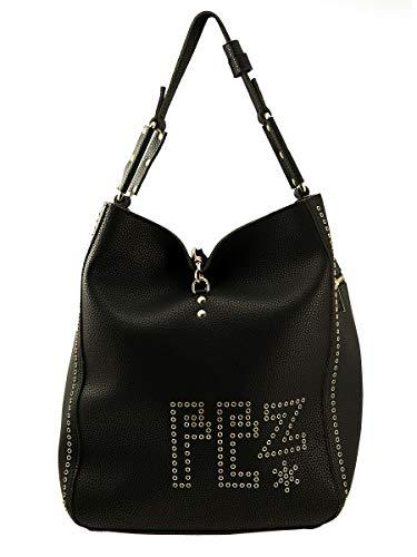 FEZ Borsa Donna Shopper Tracolla Applicazioni Metallo Nero, U