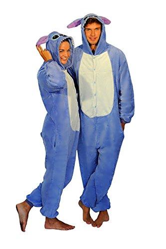 Unisex Rosa Blau Stitch Blue Pink Stitch Onesie Kigurumi Pyjama Karneval Kostüm Maskenkostüm Kapuzenpulli Schlafanzüge Blau Stitch, M(Height 160cm-170cm)