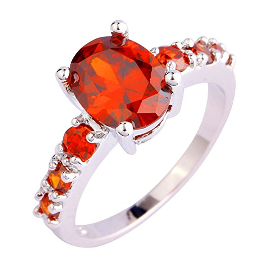 Emsione 925 Silver Plated Oval Created Garnet Promise Eternity Women's Band Rings Color Red Size 7