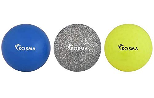 Kosma Set mit 3 Hockeybällen | Outdoor Sports PVC Übungsbälle – Gelb Dimple, Silber Glitzer, Blau glatt