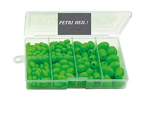 Set: 280 Perlen-Sortiment oval .selbstleuchtend 6-12mm,oval Sortiert in Box .Luminous + gratis Petri Heil! Aufkleber