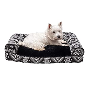 Furhaven Pet Dog Bed – Plush Kilim Southwest Home Decor Pillow Cushion Traditional Sofa-Style Living Room Couch Pet Bed with Removable Cover for Dogs and Cats, Black Medallion, Medium