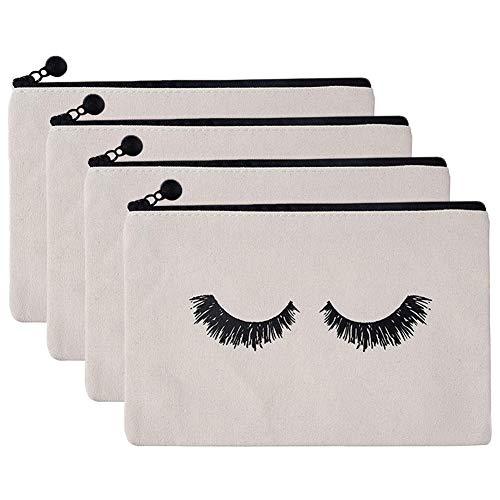 INTVN Schminktasche, Robuste Praktischer Wimpern Kosmetiktaschen mit Reißverschluss Leinen Kosmetik Tasche Kleines Tasche Münzengeld Beutel Speicher Handtasche Reisetaschen für Frauen und Mädchen
