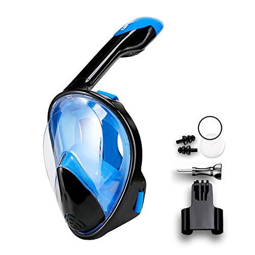 RatenKont Mascarilla de Buceo de Buceo de Cara Completa Anti de Niebla Gafas con Montaje de cámara Mascarilla de natación de visión Amplia bajo el Agua Black Blue L/XL