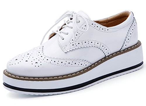 DADAWEN Women's Platform Lace-Up Wingtips Square Toe Oxfords Shoe White US Size 10/Asia Size 43/26.5cm