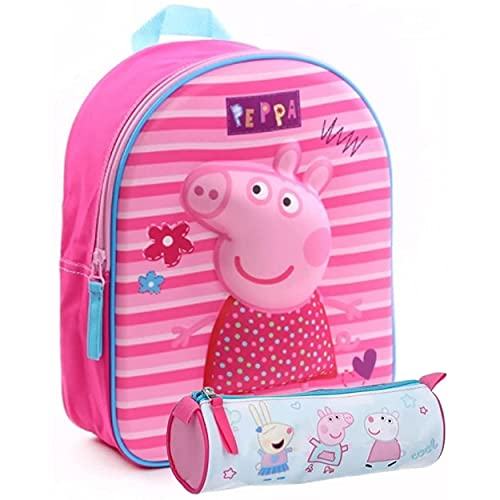 Peppa Pig, zaino per bambini per asilo, 31 x 25 x 12 cm + astuccio