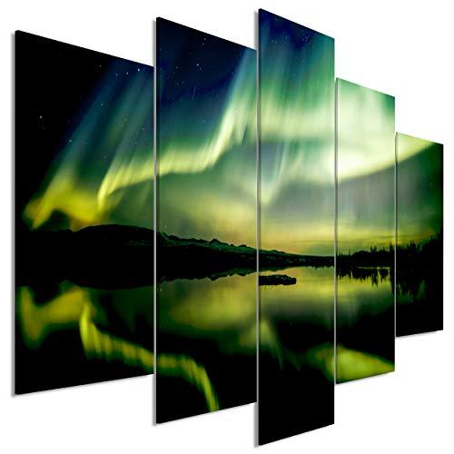 decomonkey Bilder Polarlicht 225x100 cm 5 Teilig Leinwandbilder Bild auf Leinwand Wandbild Kunstdruck Wanddeko Wand Wohnzimmer Wanddekoration Deko Landschaft Nordlicht schwarz grün