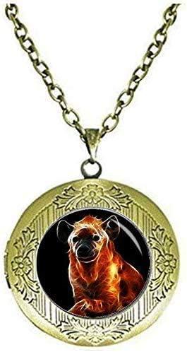 Hyena Locket Necklace Hyena Jewelry Psychedelic Neon Animals Wild Animal Jewelry Animal Jewelry Art Picture Jewelry