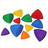 IRQ Juego de 11 piedras de río para niños, juego de equilibrio, coordinación, borde antideslizante, multicolor