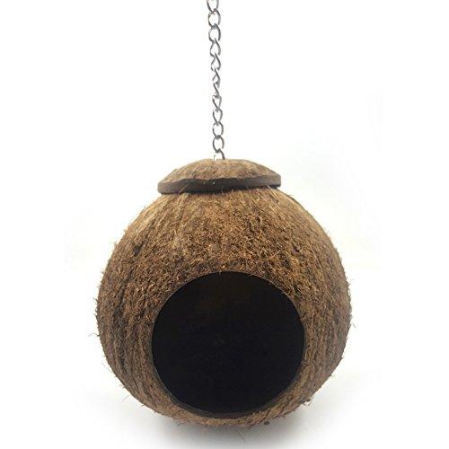 Vogelnest aus natürlichem Kokosnuss-Muschel, Kokos Gehäuse Vogel Nest, Pet Bird House Käfig, für Wellensittiche, Nymphensittiche, Kanarienvogel, Finken, Taubenkäfig, Hamster, Ratten