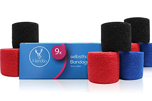 Herolio Bandage selbsthaftend, Verband, Wundversorgung 9er Set 5 x 450 cm