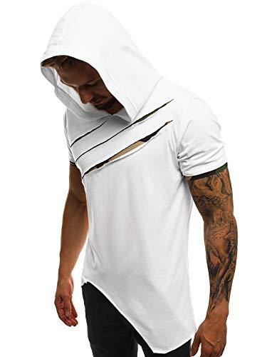 OZONEE Herren T-Shirt Kapuze T Shirt Tshirt Kapuzenpullover Sweatshirt Hoodie Sweatjacke Trainingsjacke Sportjacke Kurzarm Kurzarmshirt Tee Top Sport Sportswear A/1185 WEIß XL