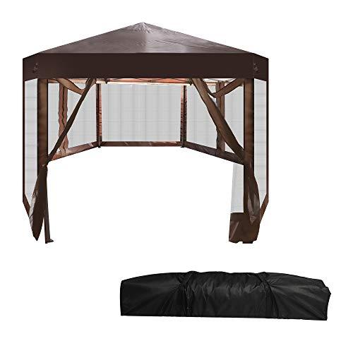 LUCKYERMORE Pop Up Canopy Tent with Mesh Side Wall 6'x6'x8' Height Adjustable Hexagon Outdoor Gazebos with Carry Bag for Patio Garden Backyard,Tienda emergente de Dosel