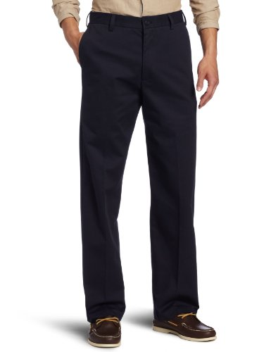 IZOD Men's American Chino Flat Front Straight Fit Pant, Navy, 32W x 32L