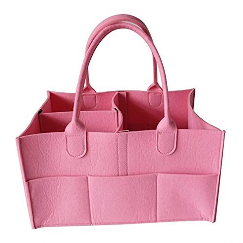 Cesta para pañales para niños, Cesta de Fieltro, Compartimentos Intercambiables, Bolsa para toallitas (Rosa 33 * 23 * 18,5 cm)