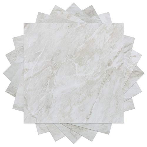 "WESTICK 10 Pcs Marble Peel and Stick Floor Tiles Stickers Vinyl Flooring for Bathroom Backsplash Tile for Kitchen Waterproof Adhesive Ground Stickers Decals Living Room Wall Panel Decor 12"" x 12"""
