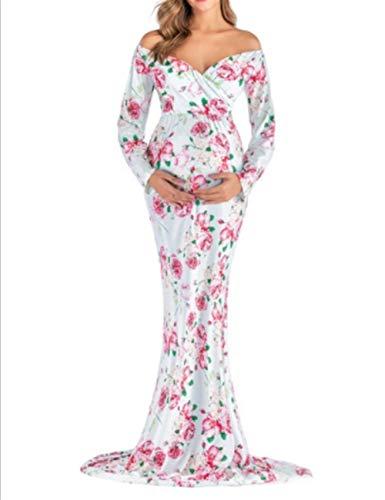 Vrouwen met capuchon Afdrukken Zwangere Vrouwen V-hals Jumpsuit Trailing Dress Fotografie Block Pull-up (Color : Green, Size : XL)