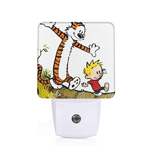 Shanion Calvin and Hobbes Fashionable Durable Pliggable Led Night Light Wall Lamp for Bedroom,Baby Room,Corridor,Stairs,Energy Saving,Automatic On Off
