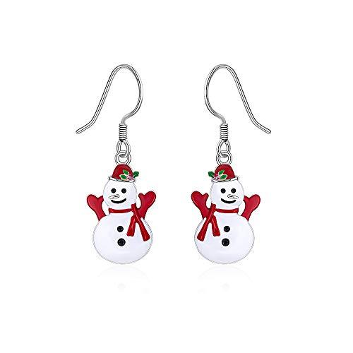 Christmas Snowman Earrings Real 925 Sterling Silver for Women Hypoallergenic Dangle Weird Cute Red Huggie Hook Bauble Frozen Winter Xmas Thanksgiving Gift -  Designer Fabrics, D210