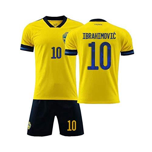 PAOFU-Sverige fotbollslag 10# Zlatan Ibrahimovi fans fotbollströja för män pojke, gul, 9 år