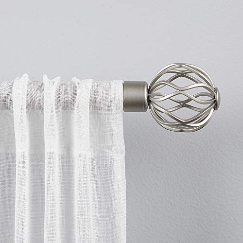 "Exclusive Home Curtains Ogee 1"" Curtain Rod and Finial Set, 36""-72"", Matte Silver"