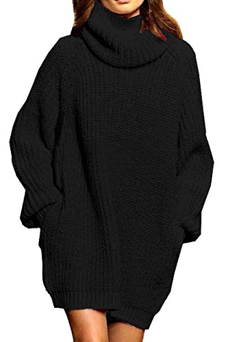 Viottiset Damen Rollkragen Strickkleid Einfarbig Winter Langarm Sexy Sweater Schwarz XL