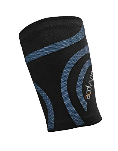 BODYVINE Unisex – Erwachsene Triple Compression Bandage 3-Lagen Oberschenkel Kompression mit Power-Band Muscle Support Taping, Blau, L
