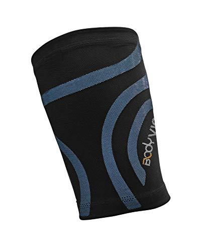 BODYVINE Unisex– Erwachsene Triple Compression Bandage 3-Lagen Oberschenkel Kompression mit Power-Band Muscle Support Taping, Blau, L