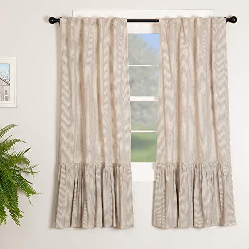 "Sara's Ticking Ruffled Panel Curtains, Set of Two, 63"" Long, Black & Cream Mini Mini Stripe, Vintage Farmhouse, Country Cottage Drape Window Treatment"