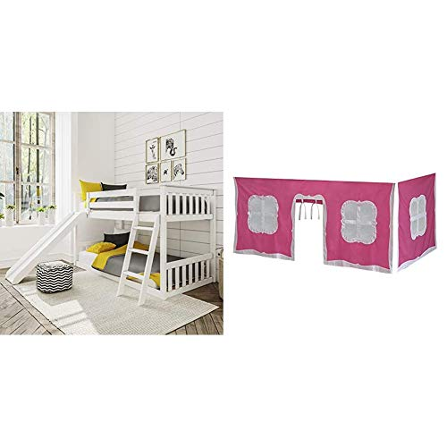 Max & Lily Twin Low Bunk Bed with Slide