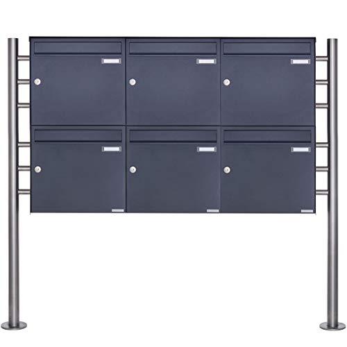 6er Standbriefkasten - 6 fach Briefkastenanlage Design BASIC 381 - Briefkasten Manufaktur Lippe (6 Parteien, waagerecht, RAL 7016 anthrazitgrau feinstruktur matt)