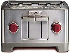 Wolf Gourmet 4-Slice Extra-Wide Slot Toaster with Shade Selector, Bagel and Defrost Settings, Red Knob, Stainless Steel (WGTR104S)