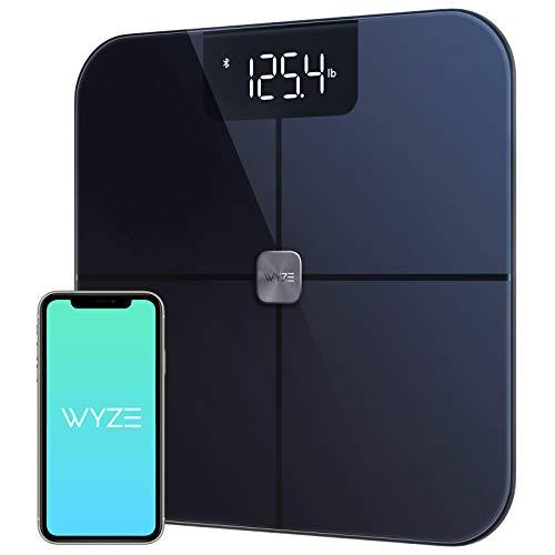 Wyze Smart Scale, Body Fat Scale, Wireless Digital Bathroom Scale for Body Weight, BMI, Body Fat Percentage Tracker, Heart Rate Monitor, Body Composition Analyzer, App, Bluetooth, 400 lb Black