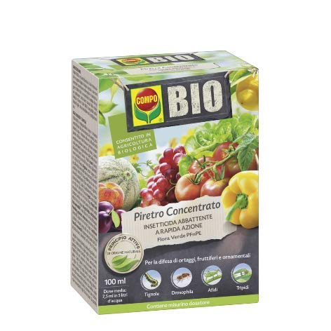 Compo BIO Piretro Concentrato PFnPE insetticida Biologico per orto e Piante Fiorite consentito in Agricoltura Biologica 100ml