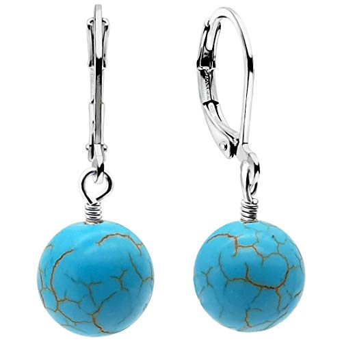 Pendientes Brisur de plata de ley 925 con colgante de piedra curativa azul turquesa | Pendientes grandes de 30 mm |