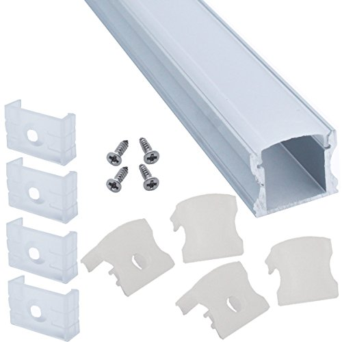 Litever 6-Pack Aluminum Channels Deep Square Trimless 1 Meter/3.3 FT Aluminum Channel for 12mm Width 5050 5730 2835 LED Strip Mounting Frosted Diffuser with End Caps Mounting Clips LL-007-A-(6-Pack) Florida
