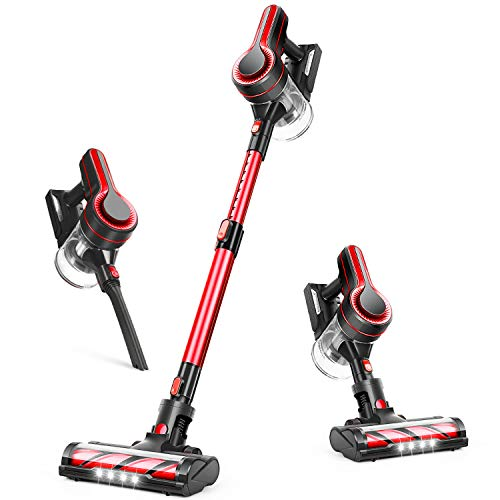 APOSEN Cordless Vacuum Cleaner, 18000Pa Strong Suction, 4 in 1 Stick Vacuum Cleaner Detachable Battery, 250W Powerful Brushless Motor, 1.2L Super-Capacity for Deep Cleaning H250 (Red)
