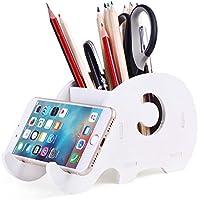 Soporte de teléfono celular, COOLBROS Porta-lápiz de elefante de madera con teléfono Organizador de escritorio de titular (elefante)