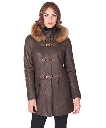 D'Arienzo Colette - Abrigo de piel con capucha de piel de vacuno para mujer, fabricado en Italia marrón XXL