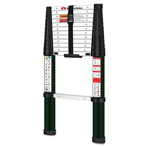 TOOLITIN Telescoping Ladder,12.5 FT One Button Retraction Aluminum Telescopic Extension Ladder,Slow Down Design Extendable Ladders Portable Best for Household Daily or RV Work,330 Pound Capacity…