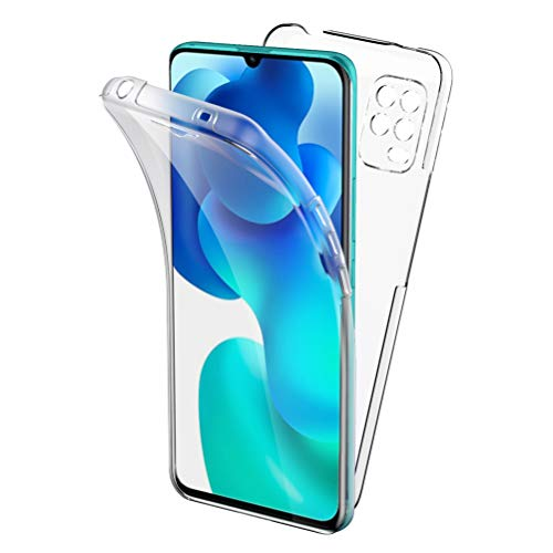 Oududianzi Funda para Xiaomi Mi 10 Lite 5G, 360 Grados Protección Diseñada, Transparente Ultrafino Silicona TPU Frente y PC Back Carcasa Belleza Original Funda de Doble Protección - Transparen
