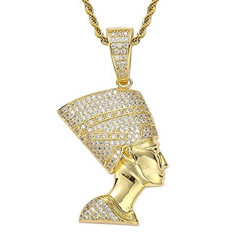 LYWER Personalizada Retro Egipcio Faraón Cabeza Hip Hop Colgante Hiphop Trendy Full Zircon Necklace ( Color : Gold )