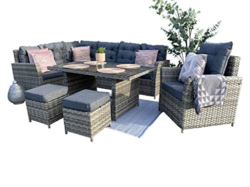 Schwarze Sorrento Rattan Outdoor Garden Dining Set 8 Seater with Dining Table - Right Side Facing