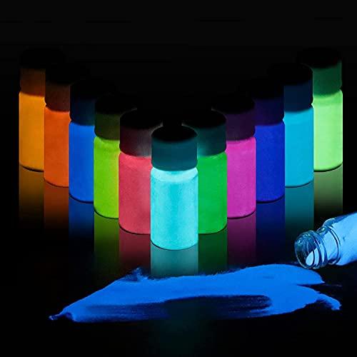 DEWEL Pigmento de Resina Epoxi Fluorescente con Lámpara UV 12 * 20g, Polvo Fluorescente para Resin, Uñas, Pintura, Acrílico y Manualidades