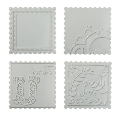 Fiskars Scalloped Square Design Plate Expansion Pack, Medium, 4-Pack